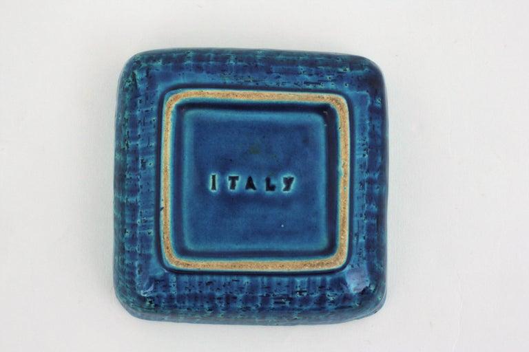 Bitossi Aldo Londi Rimini Blue Glazed Ceramic Square Ashtray, Italy, 1960s For Sale 4