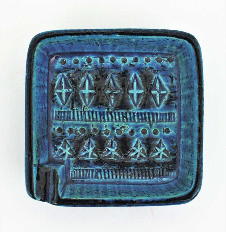 Mid-Century Modern Bitossi Aldo Londi Rimini Blue Glazed Ceramic Square Ashtray, Italy, 1960s For Sale
