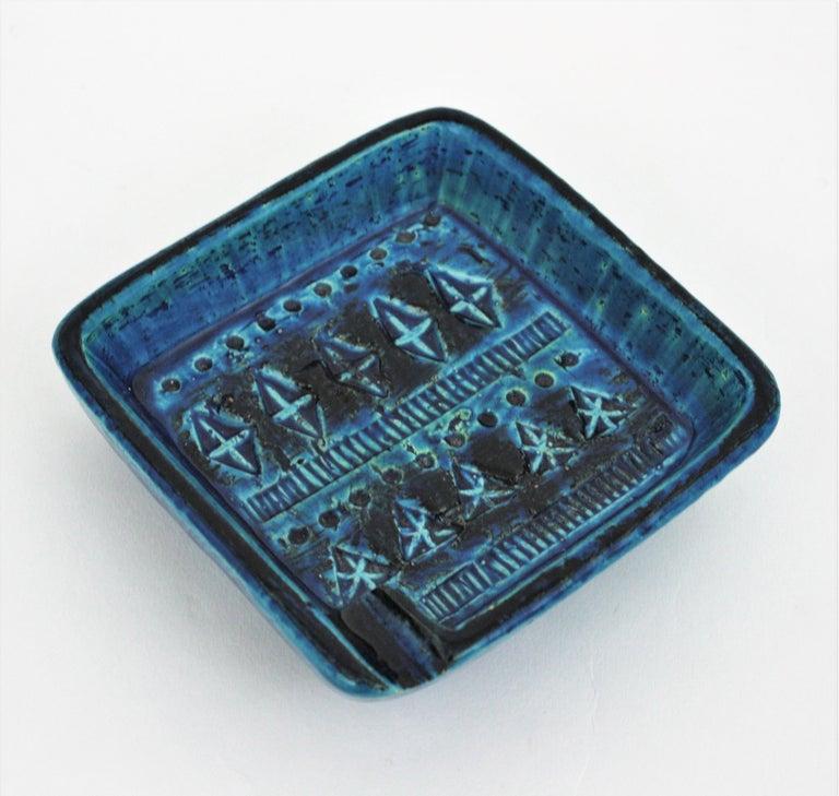 Pottery Bitossi Aldo Londi Rimini Blue Glazed Ceramic Square Ashtray, Italy, 1960s For Sale