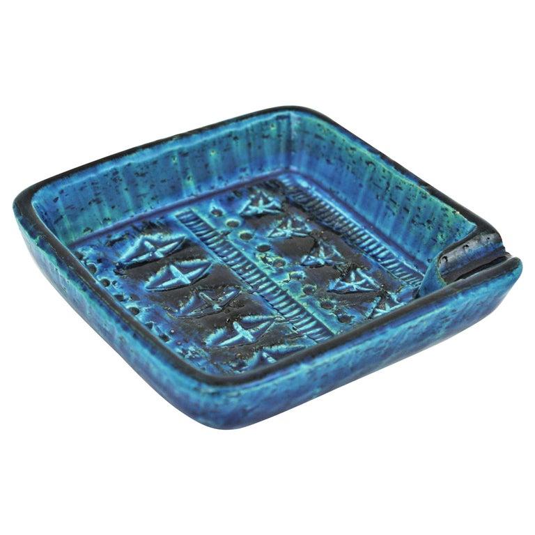 Bitossi Aldo Londi Rimini Blue Glazed Ceramic Square Ashtray, Italy, 1960s For Sale