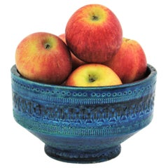 Bitossi Ando Londi Rimini Blue Glazed Ceramic Centerpiece or Fruit Bowl