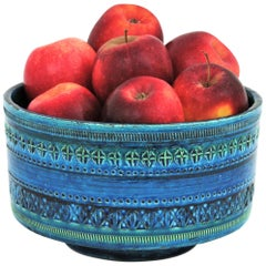 Bitossi Ando Londi Rimini Blue Glazed Ceramic Large Centerpiece or Fruit Bowl