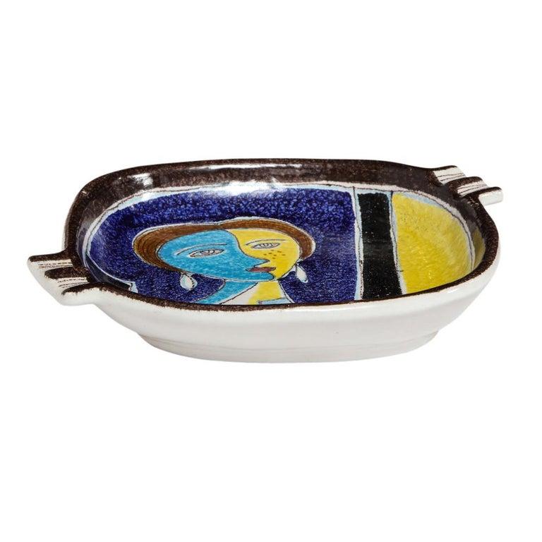 Mid-Century Modern Bitossi Ashtray, Ceramic Cubist Woman, Signed For Sale