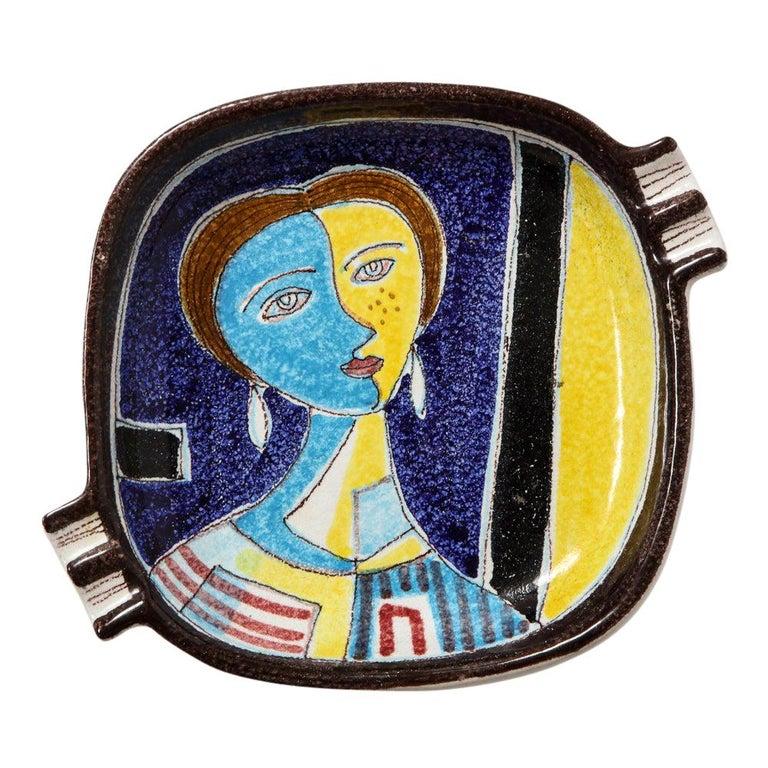 Bitossi Ashtray, Ceramic Cubist Woman, Signed For Sale