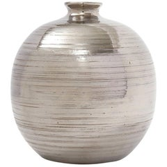 Bitossi Ball Vase, Ceramic, Brushed Metallic Silver, Chrome