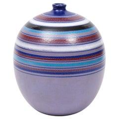 Bitossi Ball Vase, Stripes, Purple, Blue, White, Red, Signed