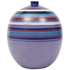 Bitossi Ball Vase, Violet Purple Stripes, Signed
