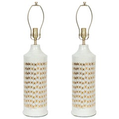 Bitossi Bone White, 22-Karat Gold Fishnet Lamps