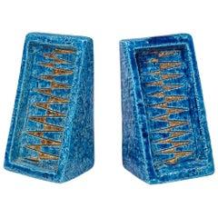Bitossi Bookends, Ceramic, Blue and Gold, Geometric, Signed