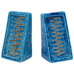 Bitossi Bookends, Ceramic Blue and Gold, Signed