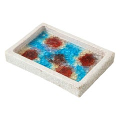 Bitossi Bowl, Ceramic and Fused Glass, White, Red, and Blue, Signed