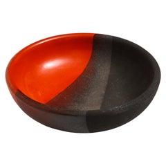 Bitossi Bowl, Ceramic, Orange, Matte Black, Signed