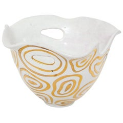 Bitossi Bowl, White and Gold, Abstract, Signed