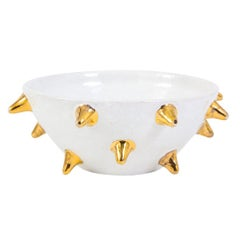 Bitossi Bowl, White Ceramic Gold Spikes, Signed