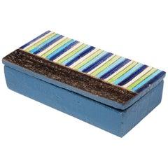 Bitossi Box, Ceramic, Blue, Green, White Stripes, Signed