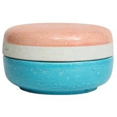 Bitossi Box, Ceramic, Pink, White, and Blue, Signed