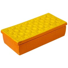 Bitossi Box, Ceramic, Yellow and Orange, Signed