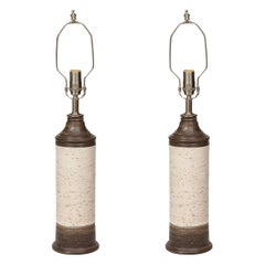 Bitossi Brown, Birch Tree Glazed Ceramic Lamps