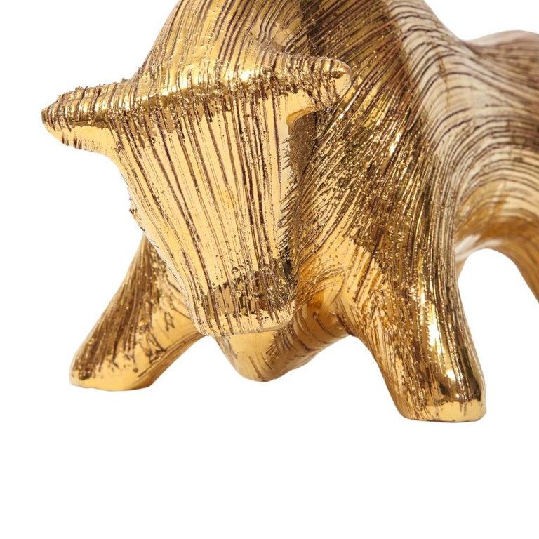 Mid-Century Modern Bitossi Bull, Ceramic Brushed Gold For Sale