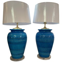 Bitossi by Aldo Londi Huge Rimini Blue Lamps Pair
