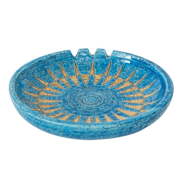Italian  Bitossi Ashtray, Ceramic, Blue and Gold Sunburst, Signed For Sale