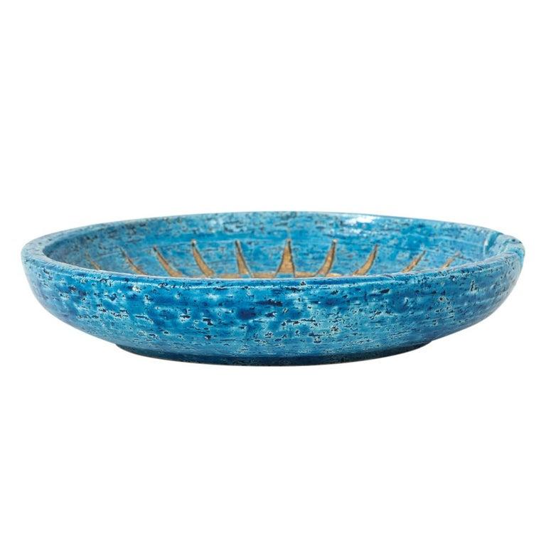 Glazed  Bitossi Ashtray, Ceramic, Blue and Gold Sunburst, Signed For Sale