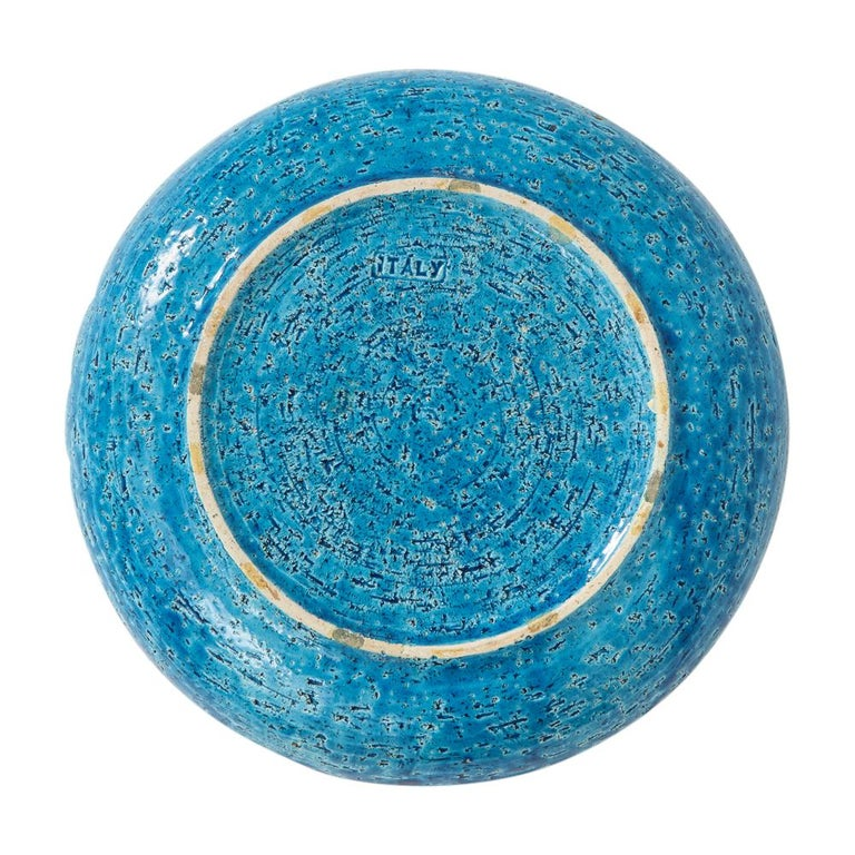 Bitossi Ashtray, Ceramic, Blue and Gold Sunburst, Signed In Good Condition For Sale In New York, NY