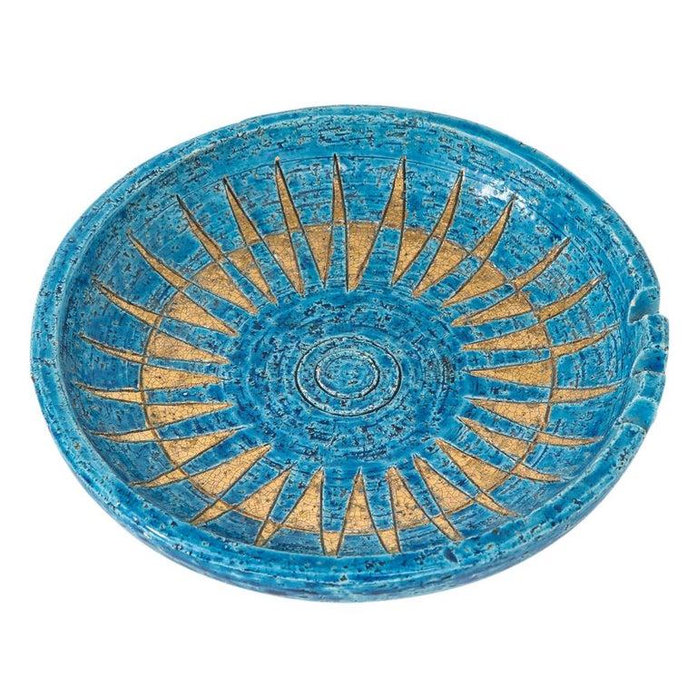 Mid-20th Century  Bitossi Ashtray, Ceramic, Blue and Gold Sunburst, Signed For Sale