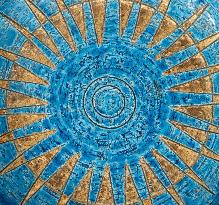 Bitossi Ashtray, Ceramic, Blue and Gold Sunburst, Signed For Sale 1