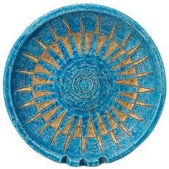 Bitossi Ashtray, Ceramic, Blue and Gold Sunburst, Signed