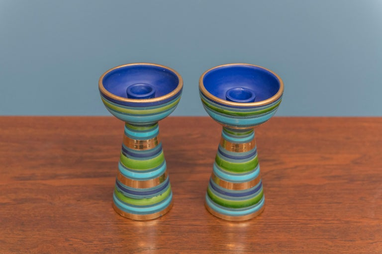 Pair of Bitossi ceramic candlesticks, in very good vintage condition.