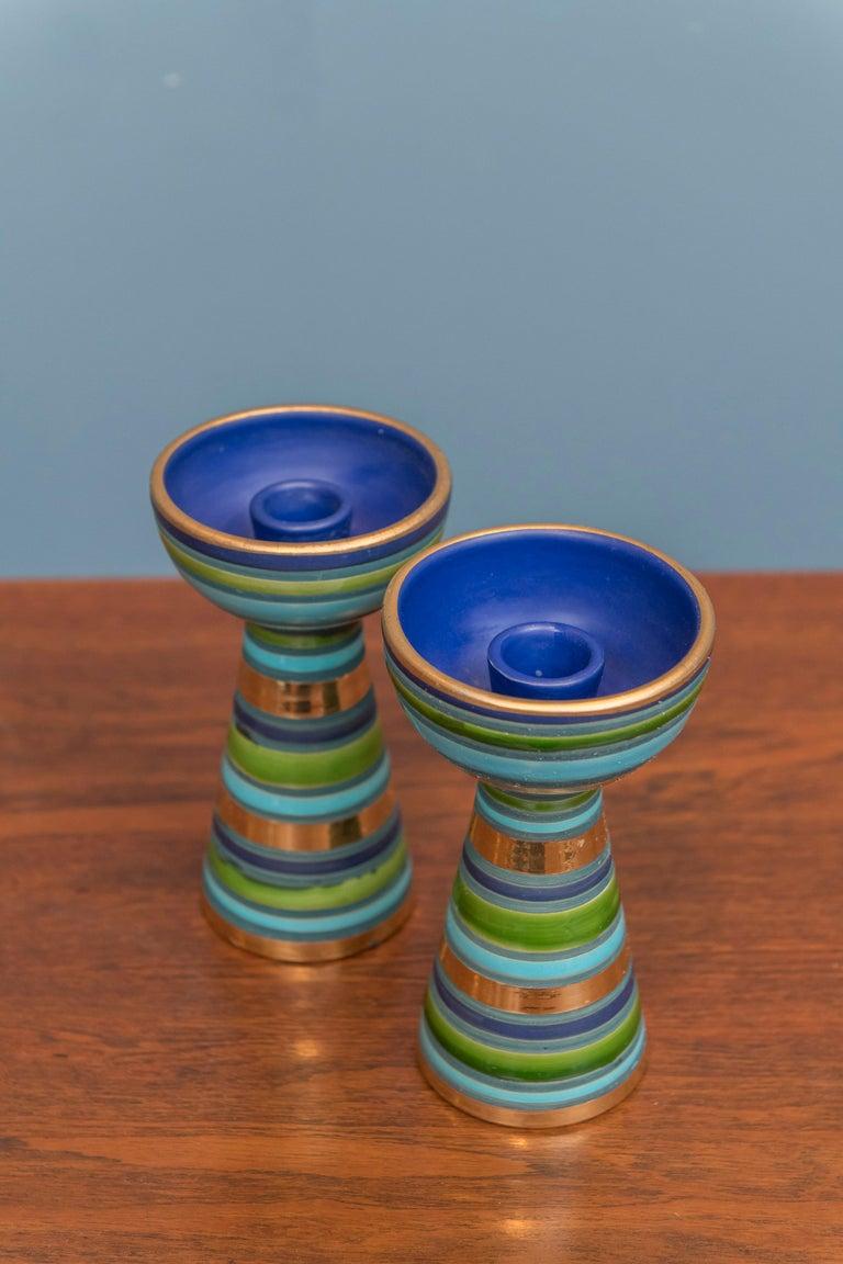 Mid-Century Modern Bitossi Ceramic Candlesticks For Sale