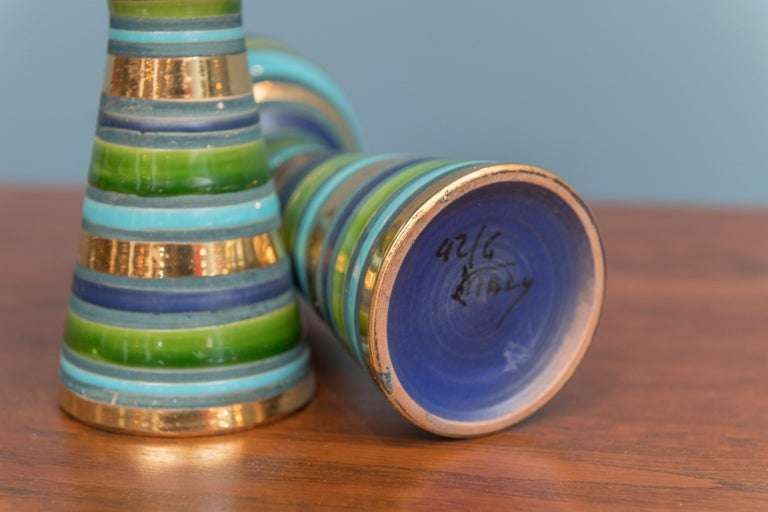 Late 20th Century Bitossi Ceramic Candlesticks For Sale