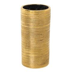 Bitossi Ceramic Cylinder Vase Brushed Gold Pottery, Italy, 1960s