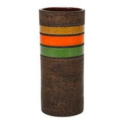 Bitossi Ceramic Cylinder Vase Stripes Brown Yellow Orange Green, Italy, 1960s