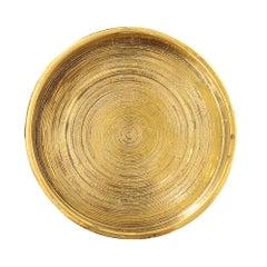Bitossi Ceramic Pottery Bowl Brushed Gold, Italy, 1960s