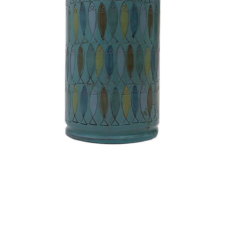 Glazed ceramic Bitossi table lamp with colorful fish pattern, Italy, c. 1960s. Signed.