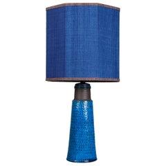 Bitossi Ceramic Table Lamp with New Silk Custom Made Lampshade René Houben, 1960