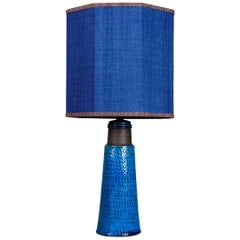 Bitossi Ceramic Table Lamp with New Silk Custom Made Lampshade René Houben, 1960
