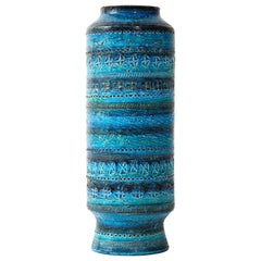 Bitossi, Ceramic Vase, Mid-Century, Italy, Turquoise, Tall, Circa 1950