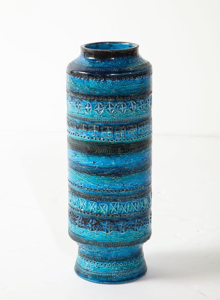 Hand-Crafted Bitossi, Ceramic Vase, Midcentury, Italy, Turquoise, circa 1950