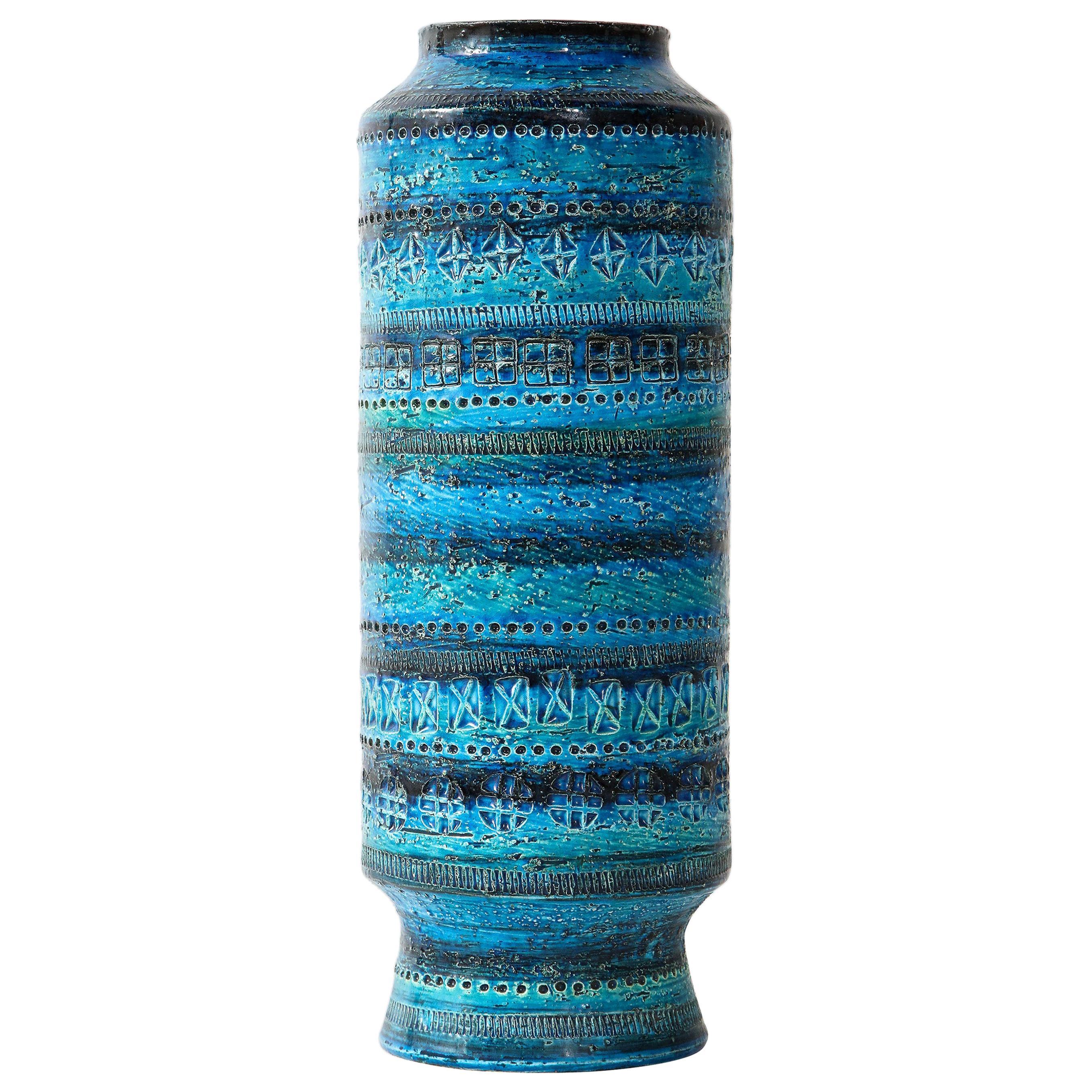 Bitossi, Ceramic Vase, Midcentury, Italy, Turquoise, circa 1950, Tall