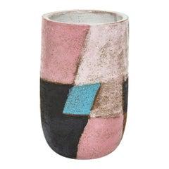 Bitossi Ceramic Vase Patchwork Pink Blue Black Signed Italy, 1960s