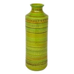 Bitossi Ceramic Vase Rosenthal Netter Chartreuse Signed Italy 1960's