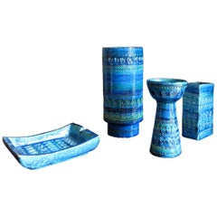 "Bitossi Ceramics by Aldo Londi ""Rimini Blue"" Ashtray Vase Candlestick, 1950s"