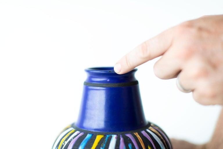 Italian Bitossi Colorful Striped Vase For Sale