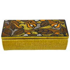 Bitossi Floral, Mustard Yellow Ceramic Box, Signed