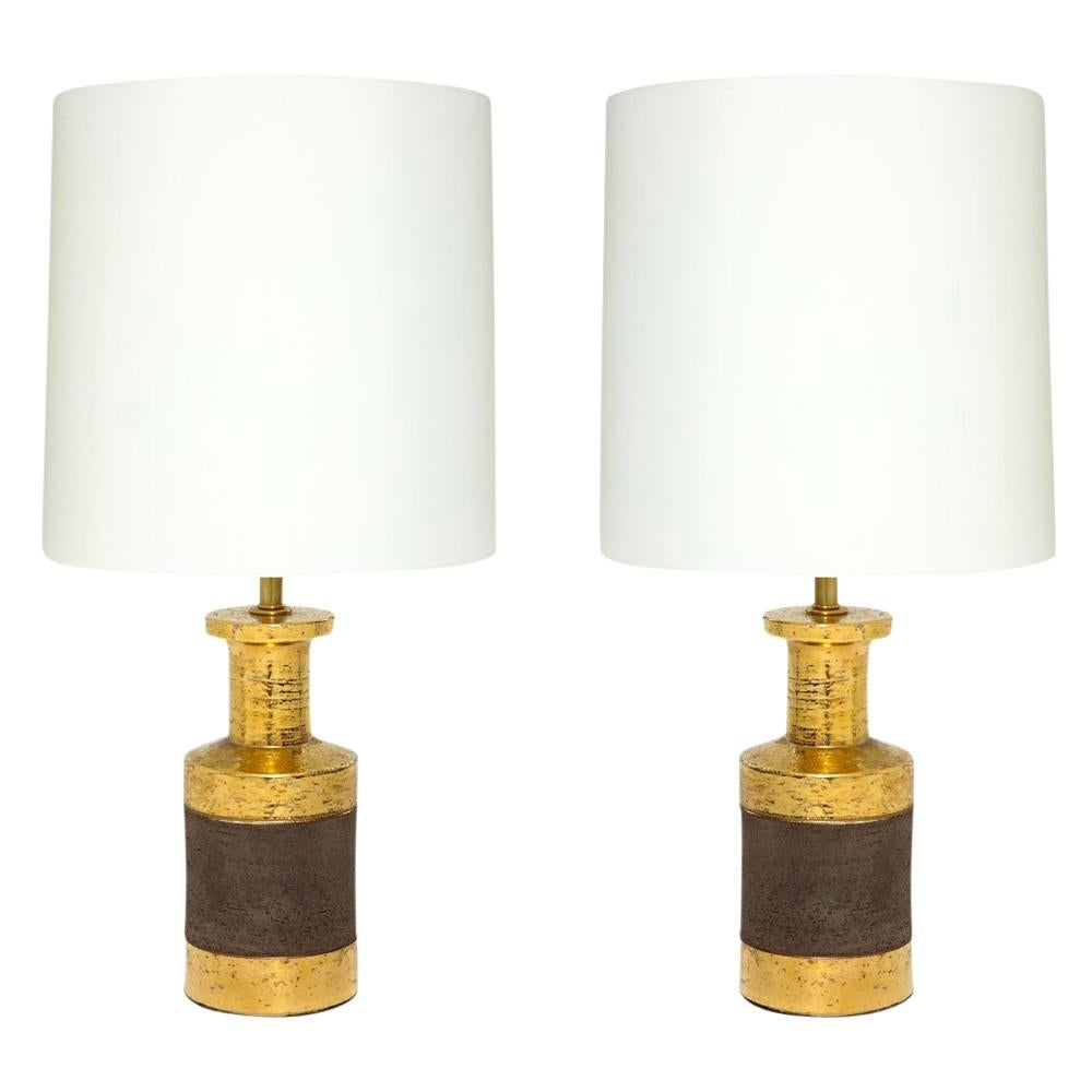 Bitossi for Bergboms Table Lamps, Ceramic, Metallic Gold and Matte Brown