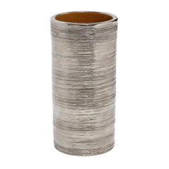 Bitossi for Berkeley House Vase, Brushed Metallic Silver Chrome, Signed