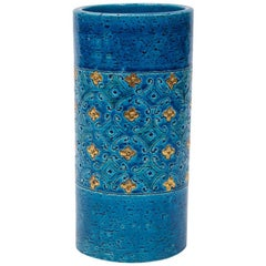 Bitossi for Berkeley House Vase, Ceramic, Blue and Gold, Signed